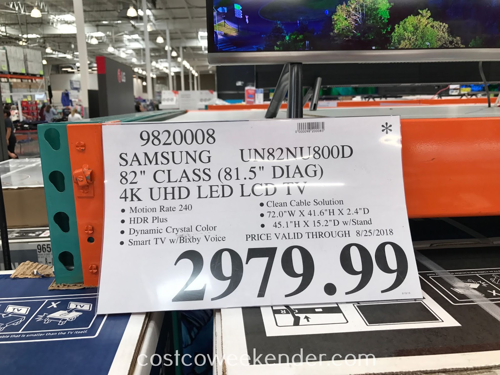 Deal for the Samsung UN82NU800D 82-inch 4K UHD TV at Costco