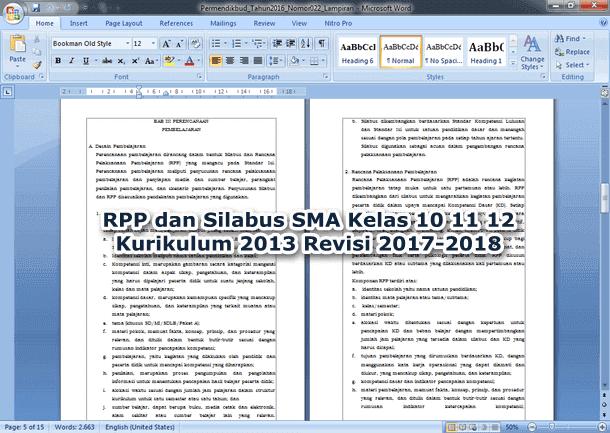 RPP dan Silabus SMA Kelas 10 11 12 Kurikulum 2013 Revisi 2017-2018
