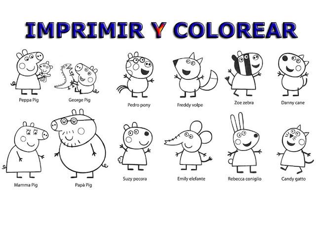 colorear peppa pig
