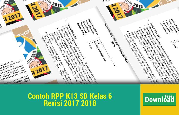 Contoh RPP K13 SD Kelas 6 Revisi 2017 2018