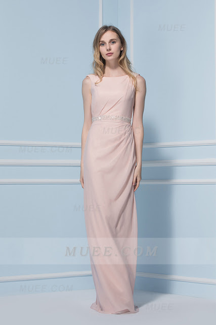 Chic Modern Crystal Bateau Neck Long Blush Chiffon Rustic Spring Bridesmaid Dress
