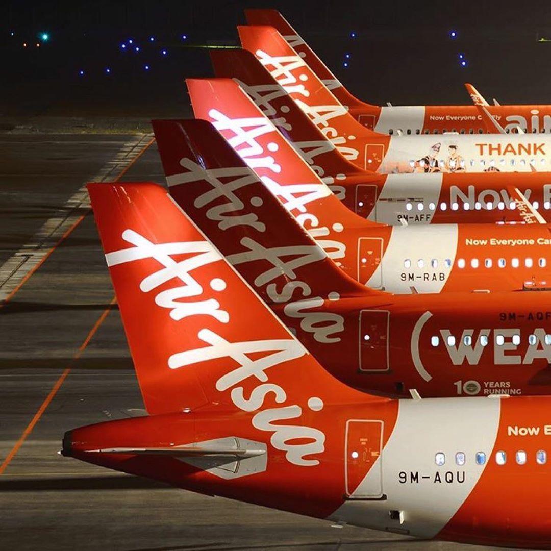 AirAsia Airbus line-up at Kuala Lumpur