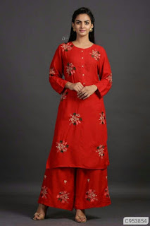 Adorable Rayon Embroidered Straight Palazzo Sets
