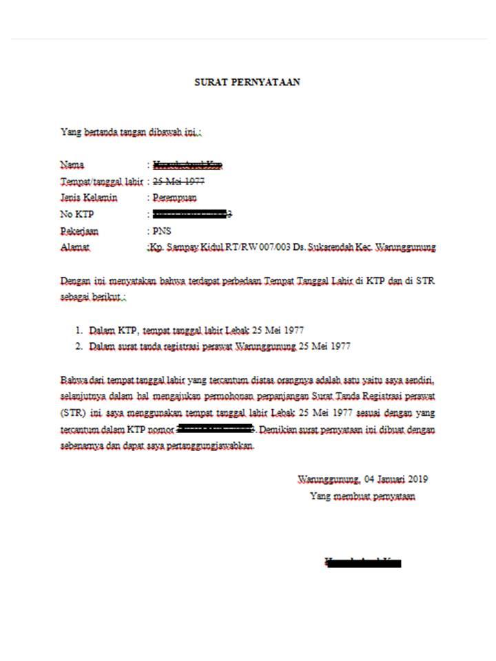 Contoh Surat Pernyataan Perbedaan Tempat Tanggal Lahir Di Ktp Dan Di Str Husnuls492 Com