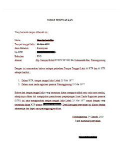 Contoh Surat Pernyataan Perbedaan Tempat Tanggal Lahir di KTP dan di STR