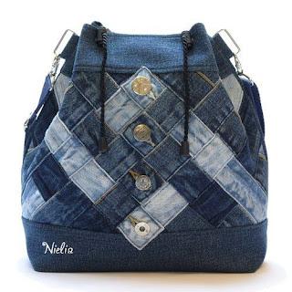ladies, bag, used denim