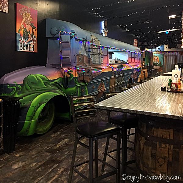 bus inside a restaurant with funky beach decor