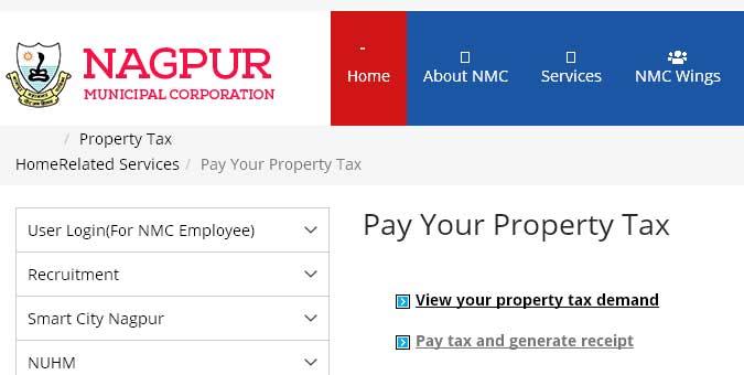 nagpur mahanagar palika property tax online payment