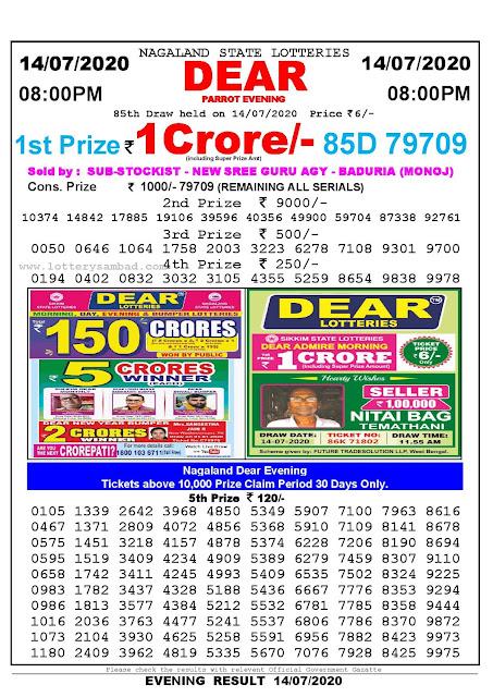 Nagaland State Lotteries 14-07-2020 Lottery Sambad Result 8:00 PM