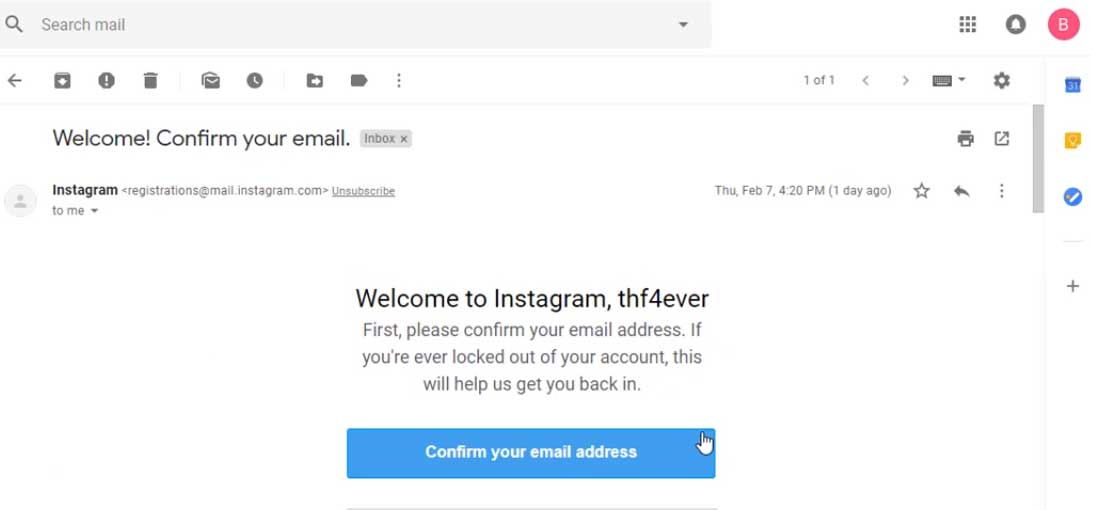 confirm email, create instagram account
