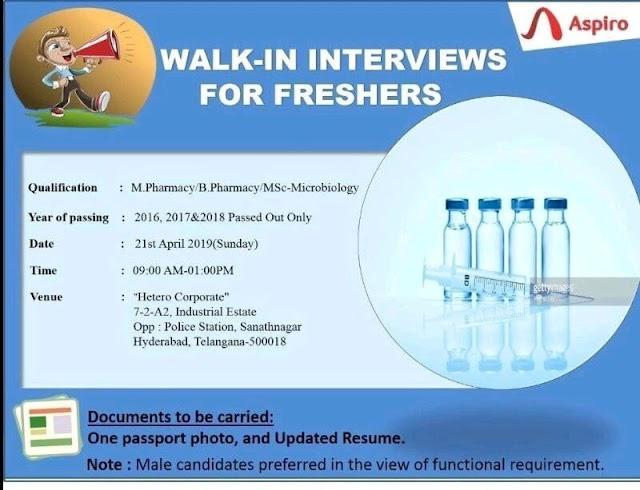 Aspiro Pharma Ltd - Walk-in Interview for Freshers B. Pharma,  M. Pharma,  M. Sc
