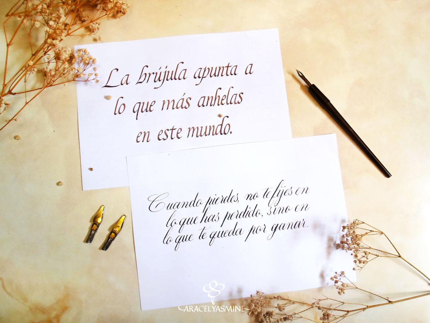 Láminas con caligrafía