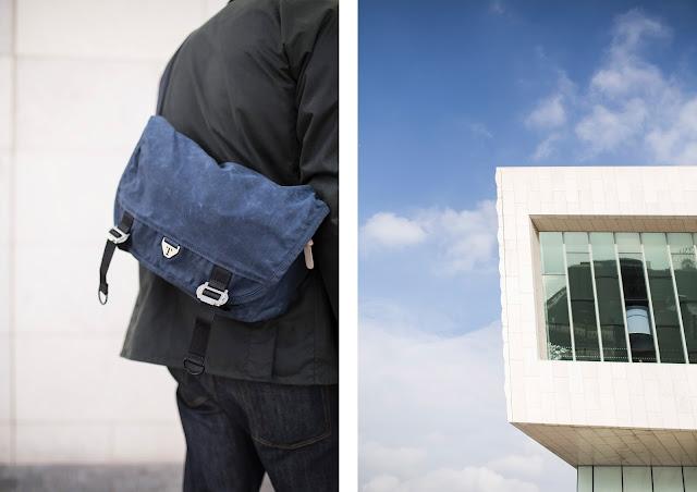 british made messenger bag by trakke, museum of liverpool building
