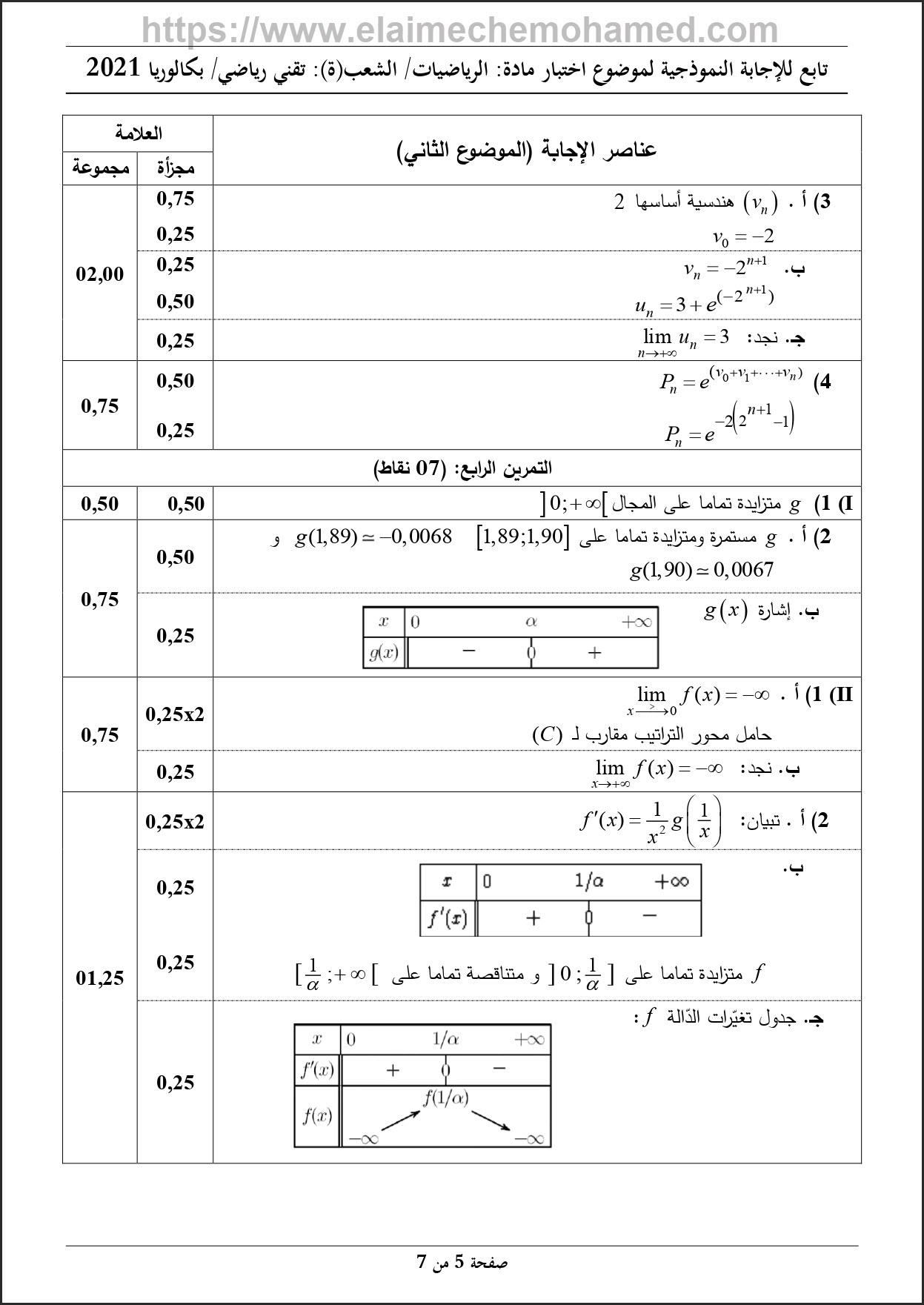 بكالوريا مادة الرياضيات تقني رياضي