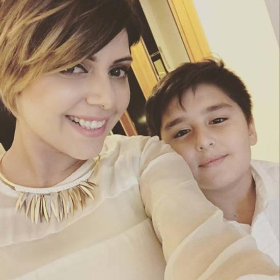 Hadiqa Kiani with her adopted son