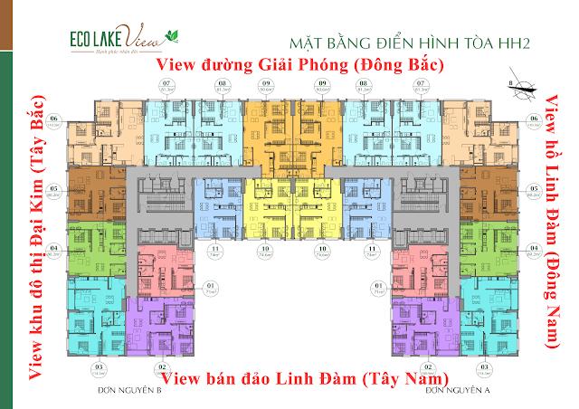 Mặt bằng tầng căn hộ điển hình tòa HH02 Eco Lake View