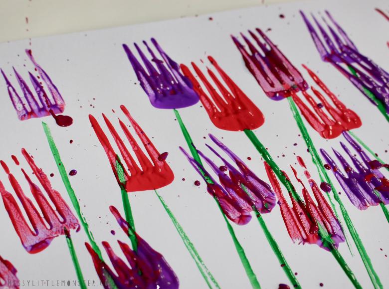 fork flower painting for kids