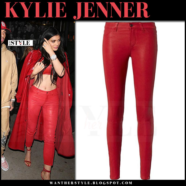 Kylie Jenner in red leather skinny pants lagence what she wore