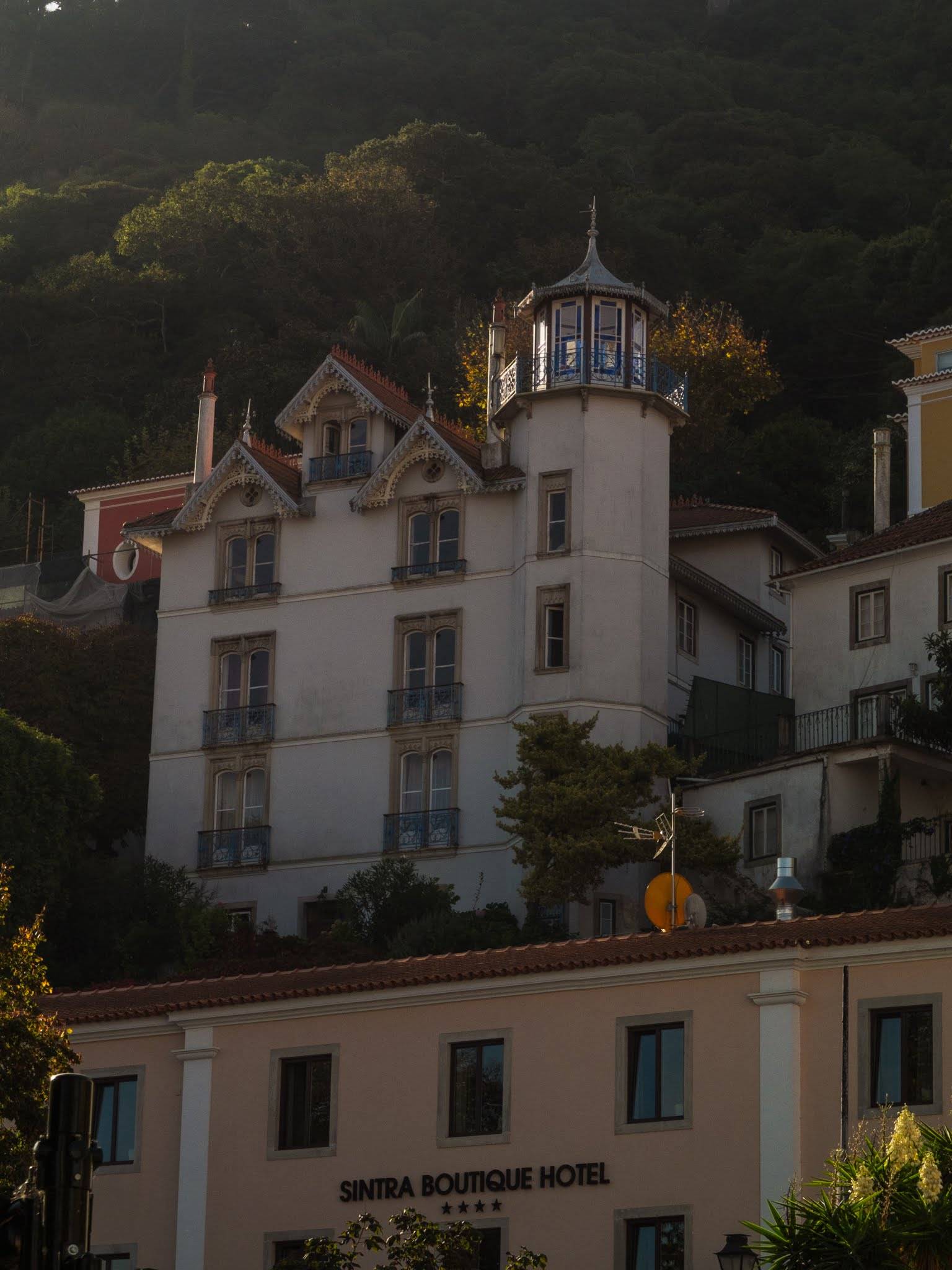 View of the hillside Sintra Boutique Hotel nestled into the trees.