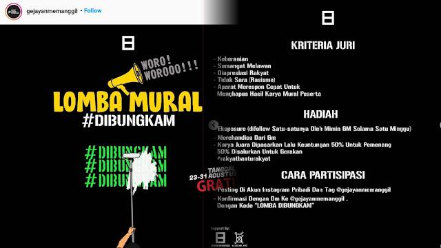 Dibuka Lomba Mural Se-Indonesia, Jika Berhasil Dihapus Penguasa akan Dapat Nilai Lebih