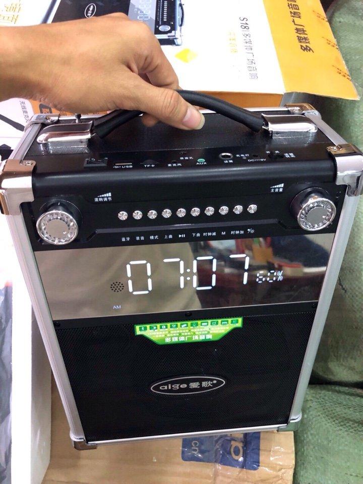960k - Loa bluetooth karaoke kẹo kéo Aige S18 màn hình mặt gương tặng 1 micro ko dây giá sỉ và lẻ rẻ nhất