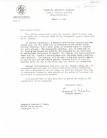 Letter from Surgeon General to Tobey, March 6, 1950