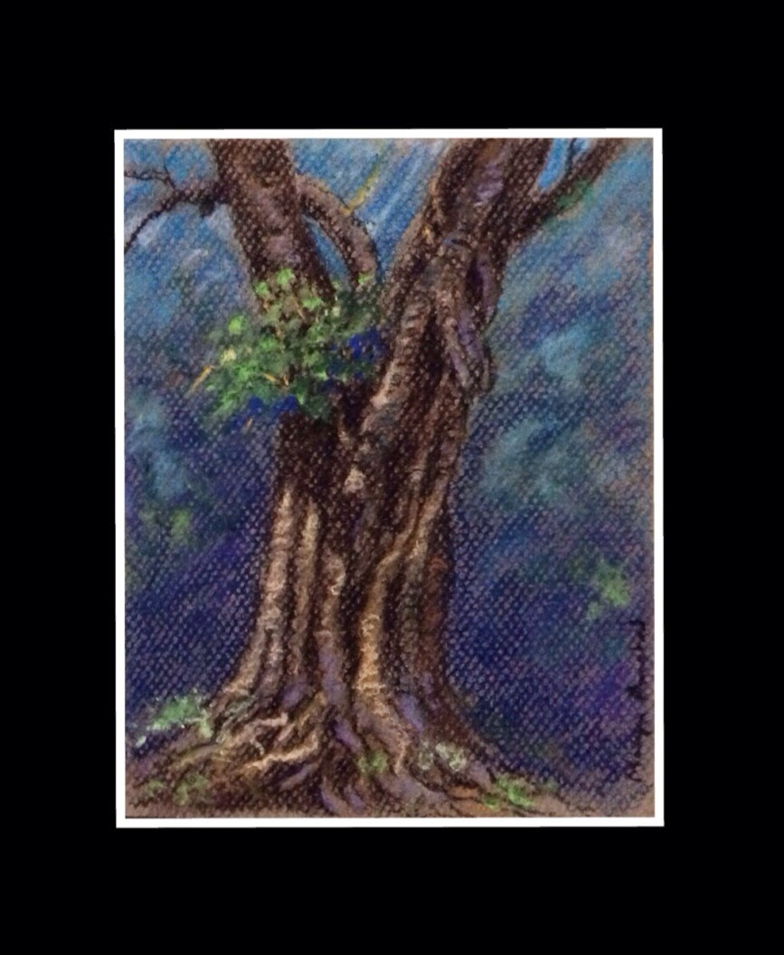 soft pastel painting of a Peepal tree by Manju Panchal