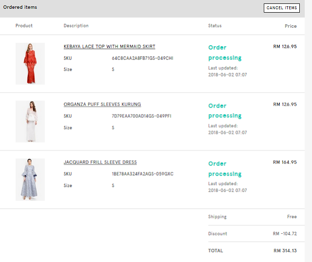3 Pasang Baju Raya Berharga RM 836.85 dengan HARGA RM 314.13