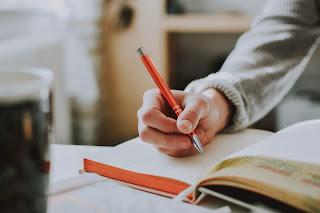 https://www.pexels.com/photo/person-holding-orange-pen-1925536/