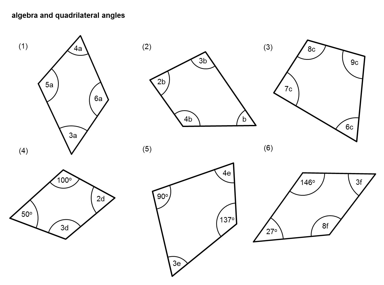 Angles Worksheet With Algebra