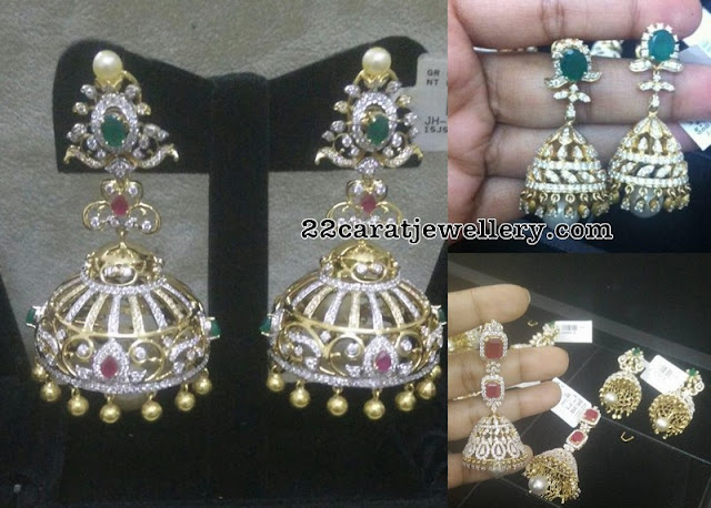 Enchanting Latest Diamond Jhumkas