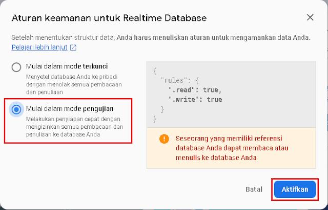 Setingan Realtime Database