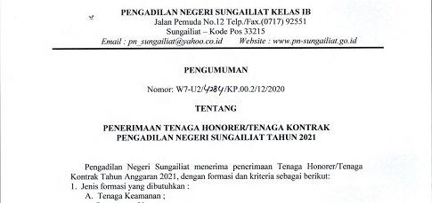 Penerimaan Tenaga Honorer Pengadilan Negeri Sungailiat Tahun 2021