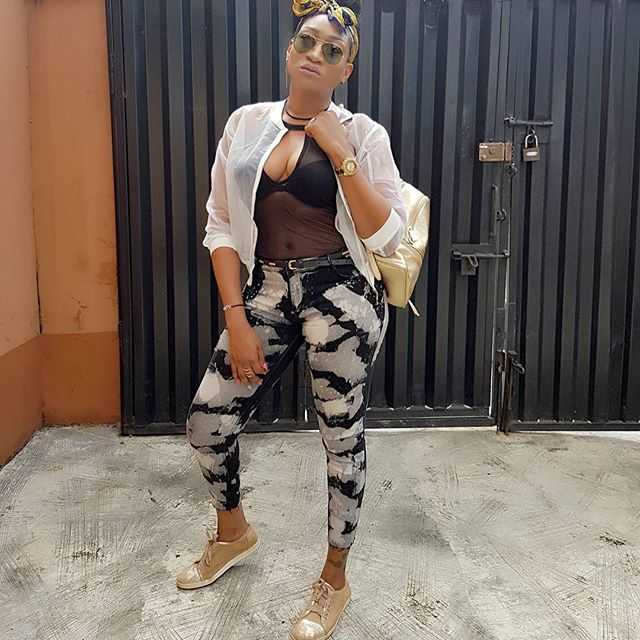 Actress Oge Okoye flashes boobs in see-through top