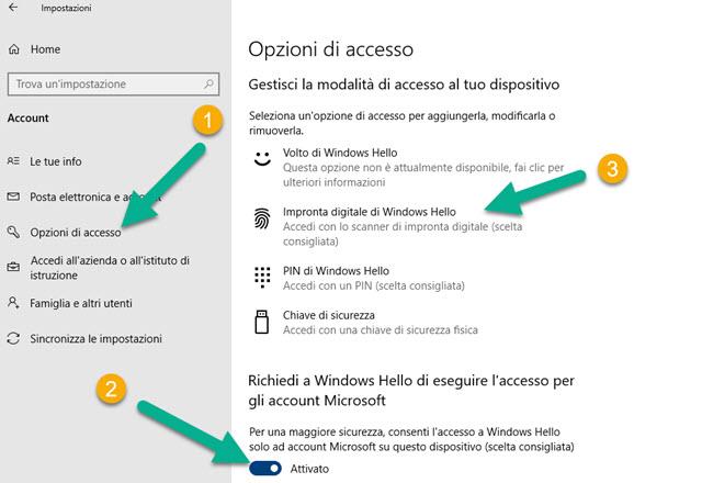 opzioni di accesso windows