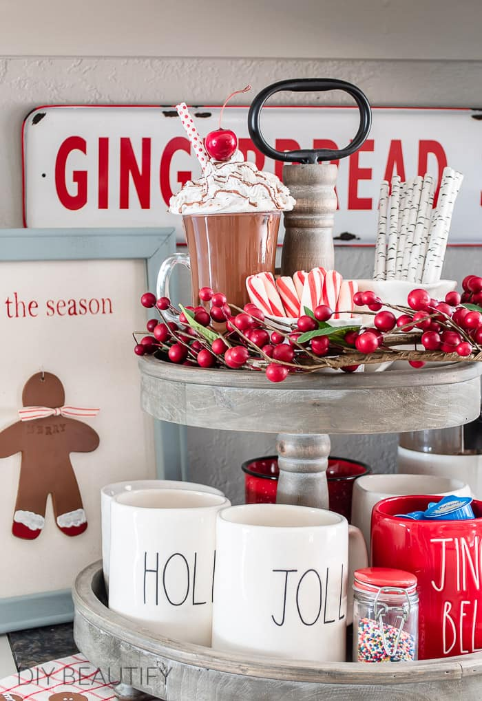 Christmas tiered tray with gingerbread men