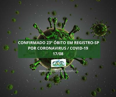 Confirmado 23 óbito em Registro-SP por Coronavirus - Covid-19