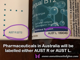 Image: section of two labels one with an AUST R number and one with and AUST L number.  Text: Pharmaceuticals in Australia will be labelled either AUST R or AUST L.