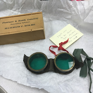 front of green goggles