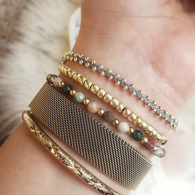 Binichohan Stacked Bracelets on a wrist