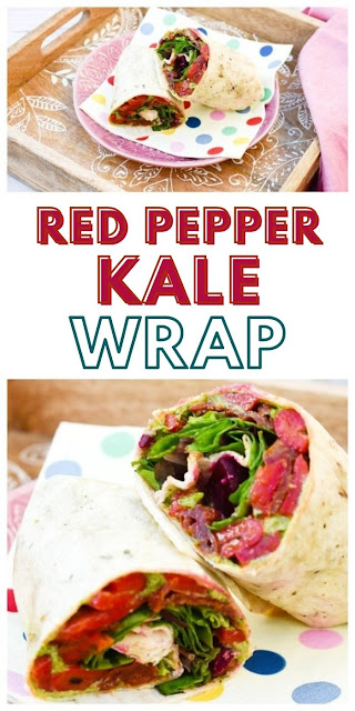 Vegan Red Pepper & Kale Lunch Wrap.A tasty vegan lunchtime wrap packed with flavours including red pepper and kale. Perfect for a work or school lunch box