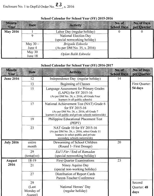 Deped school calendar - Research paper Sample - ngtermpaperpmyr