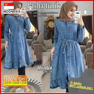 Dmb1209 Fashion Atasan Pasha Tunik Jeans Acid Denim Hits Ootd Wanita Muslimah