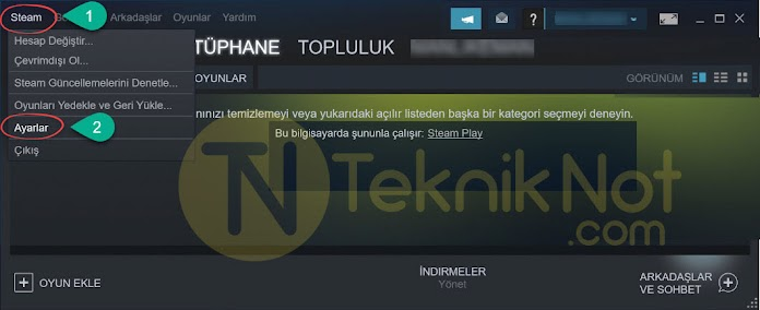 Steam FPS Gösterme