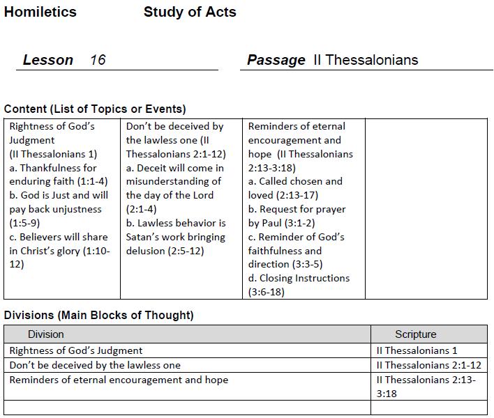 Homiletics 101 2 Thessalonians 1 3 Lesson 16