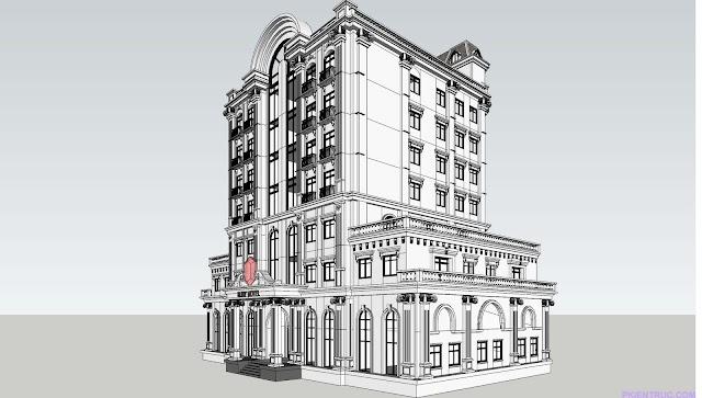 Khách sạn kiểu tân cổ điển kèm model 3d sketch up