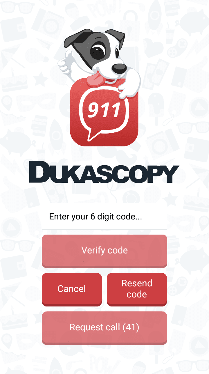 verificar telefono en Dukascopy