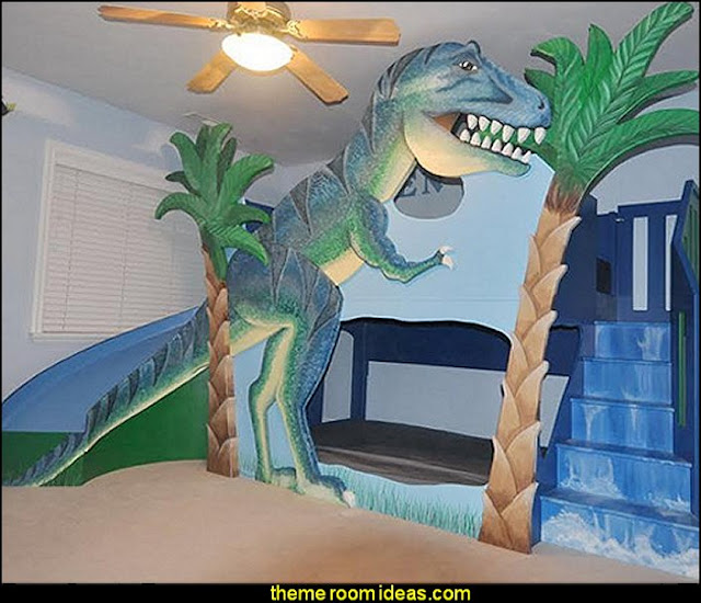 T-Rex Dinosaur Bunk Bed  dinosaur theme bedrooms - dinosaur decor - decorating bedrooms dinosaur theme - dinosaur room decor - dinosaur wall murals - dinosaur wall decals - life size dinosaur props - dinosaur duvet