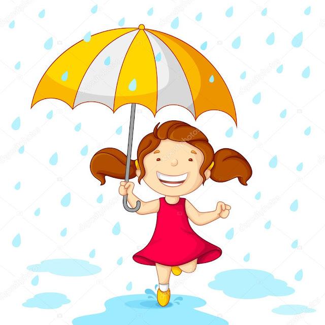 Dibujos a color de niñas con paraguas en día de lluvia