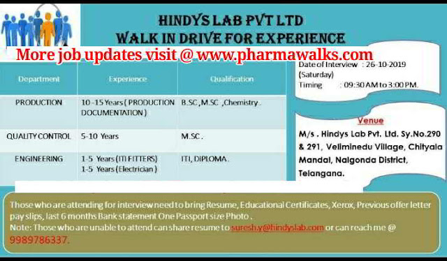 Hindys Laboratories - Walk-in interview for Production / Quality Control / Engineering department on 26th October, 2019